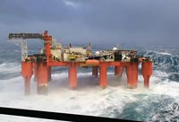 Huge Waves Rock an Oil Platform