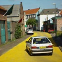 yellow street with traffic